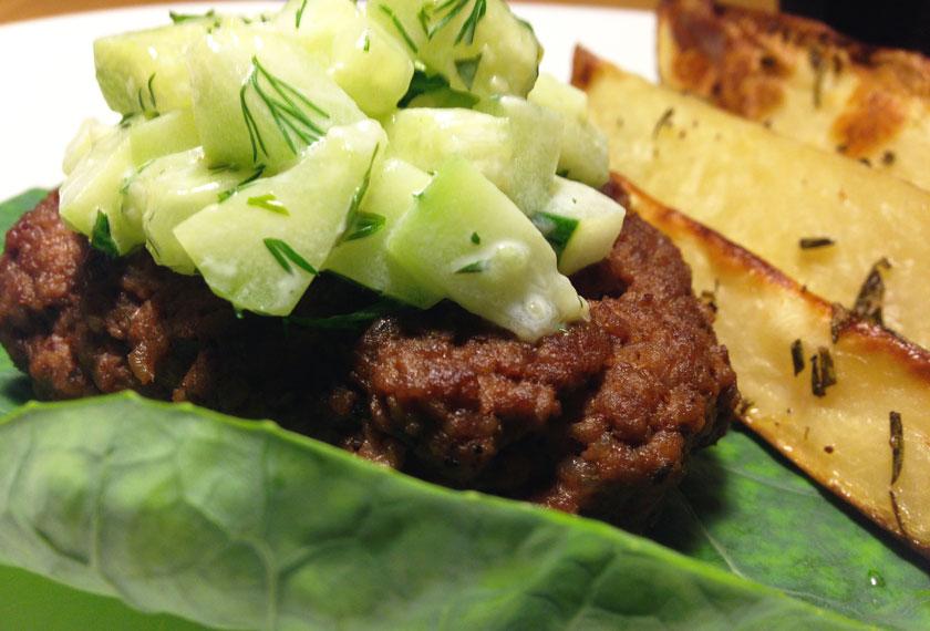 Lamb Burger and Wedges
