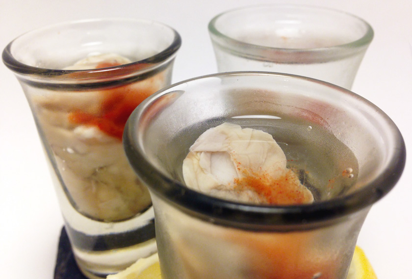 Oyster Shooters Close Up